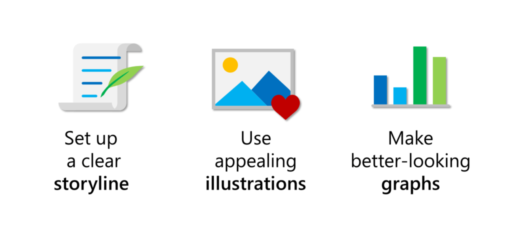 which essentials to improve in your presentation - storyline, illustrations, graphs